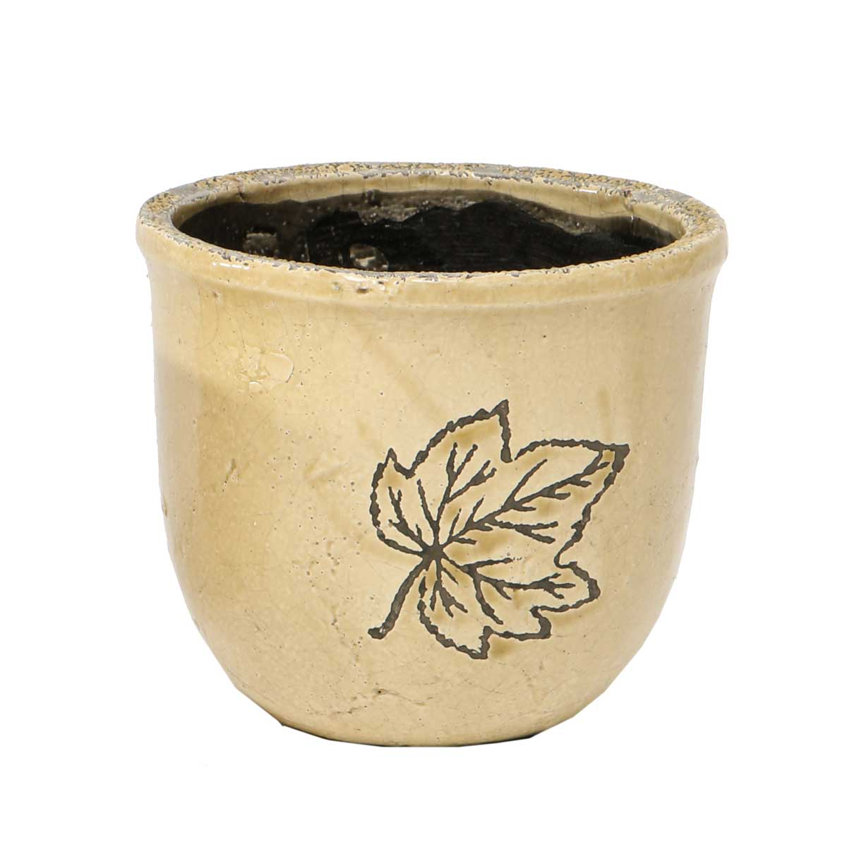 "Ceramic Leaf Cache Pot 5.5""x6"" A2069 TN v22"