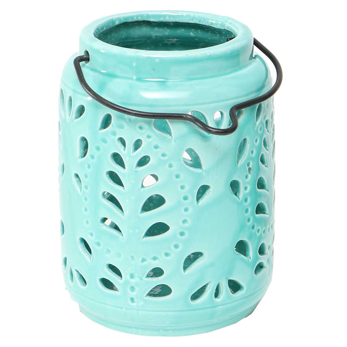 "PORTICO LANTERN TEAL WITH HANDLE 6""X7"""
