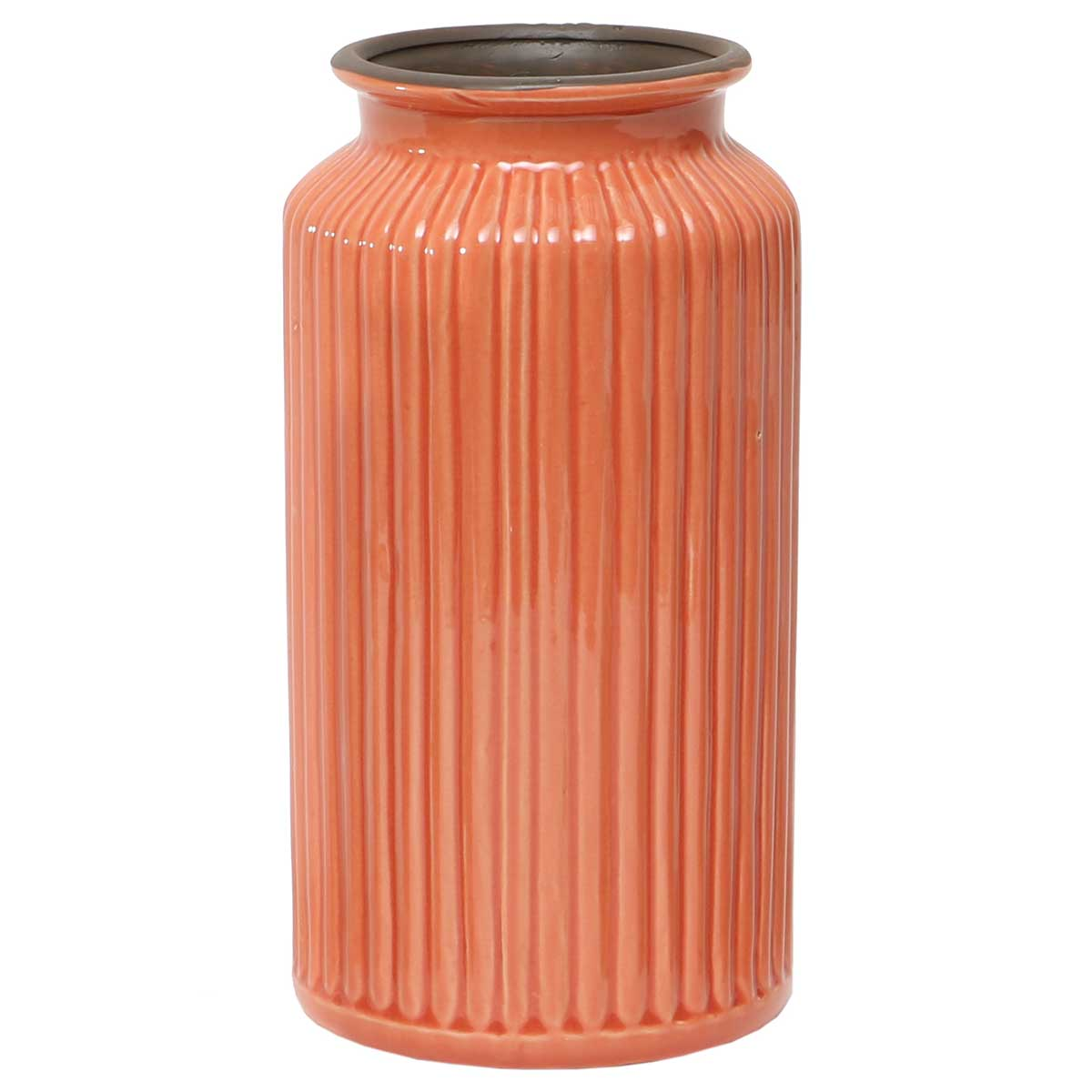 "Peach Ribbed Vase 4.5""x10"" A2087 PE v22"