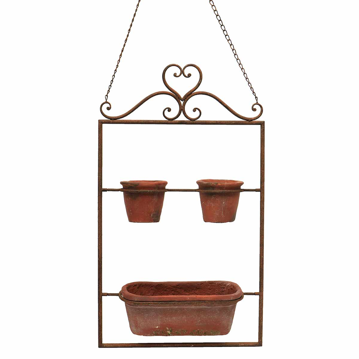 "HANGING PLANTER WITH TERRA COTTA POTS 16""X5.25""X27"""