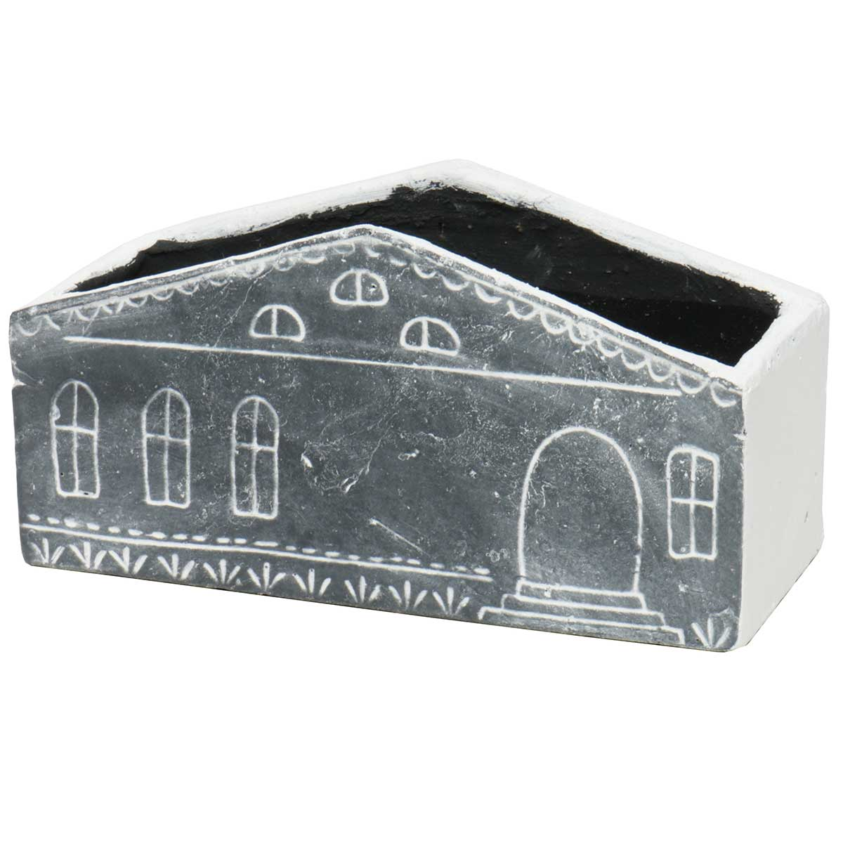 "Rectangle House Planter 9.5""x4""x4.75"" Black"