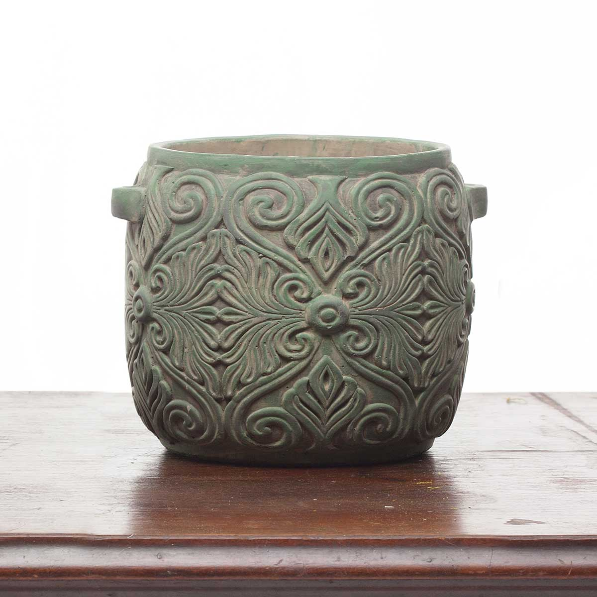 "VERDE SCROLL POT 8.5""X7.5""X7""(ff-40)"