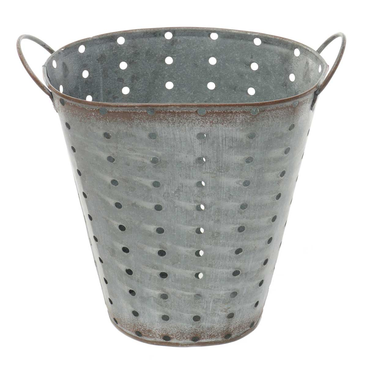 "OVAL METAL PUNCH DOT VASE 8""X5""X7"""