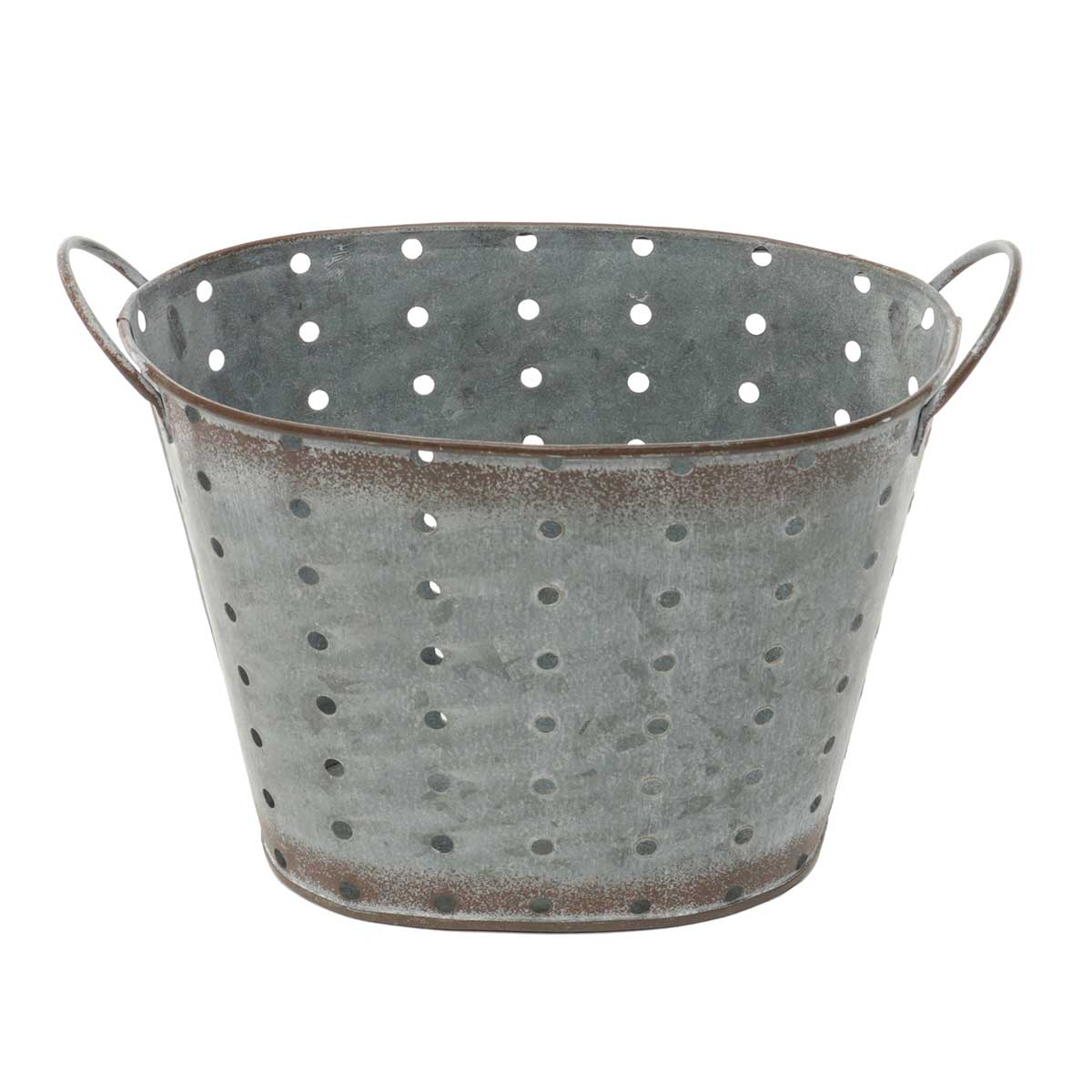 "OVAL METAL PUNCH DOT PLANTER 8.5""X5""X5.25"""