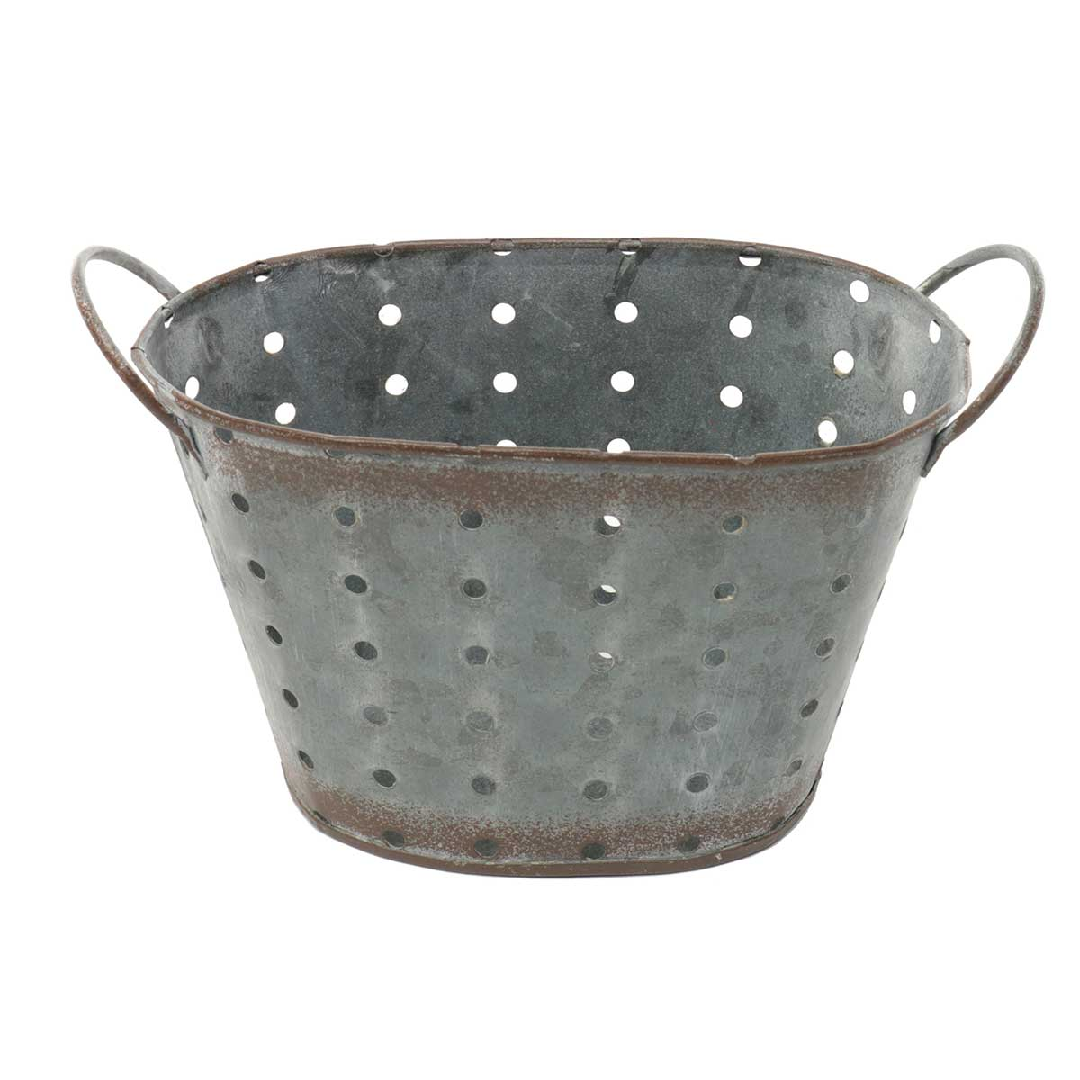 "OVAL METAL PUNCH DOT PLANTER 8""X3.75""X4.25"""