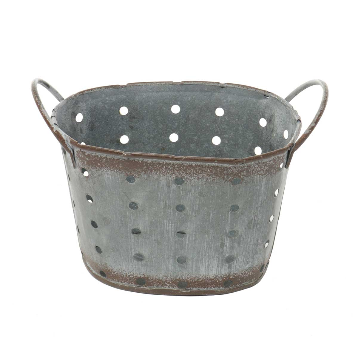 "OVAL METAL PUNCH DOT PLANTER 6""X3.75""X3.5"""
