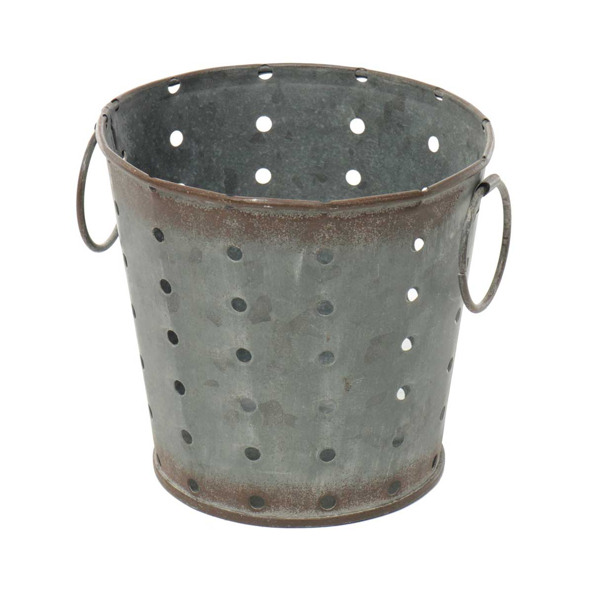 "METAL PUNCH DOT BUCKET WITH 1.5"" RING HANDLES 5""X4.5"""