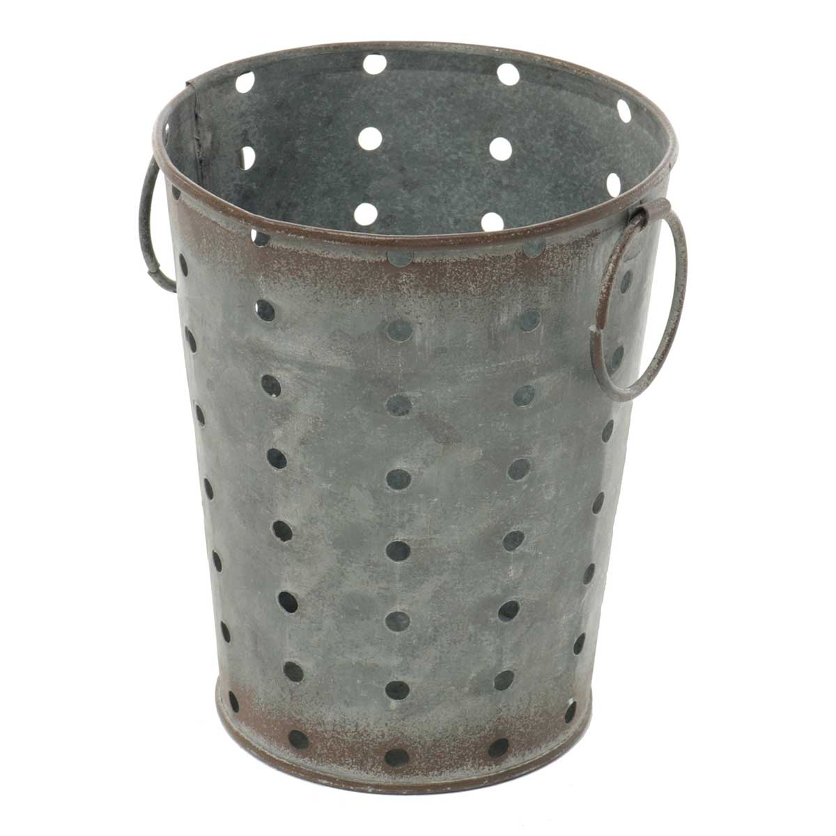 "METAL PUNCH DOT BUCKET WITH 1.5"" RING HANDLES 4.25""X5"""