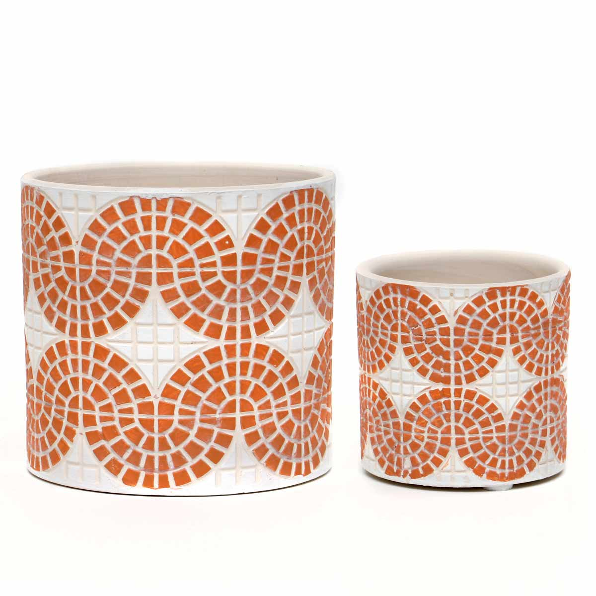 "SET OF 2 WHITE AND CORAL MOSAIC CONCRETE POTS 5.5""X5"" / 2.75""X2."
