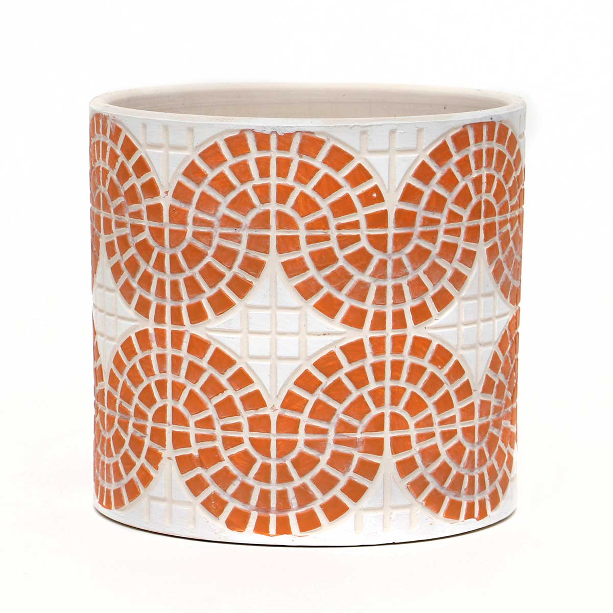 "CORAL CONCRETE MOSAIC POT LARGE 5.5""X5"""