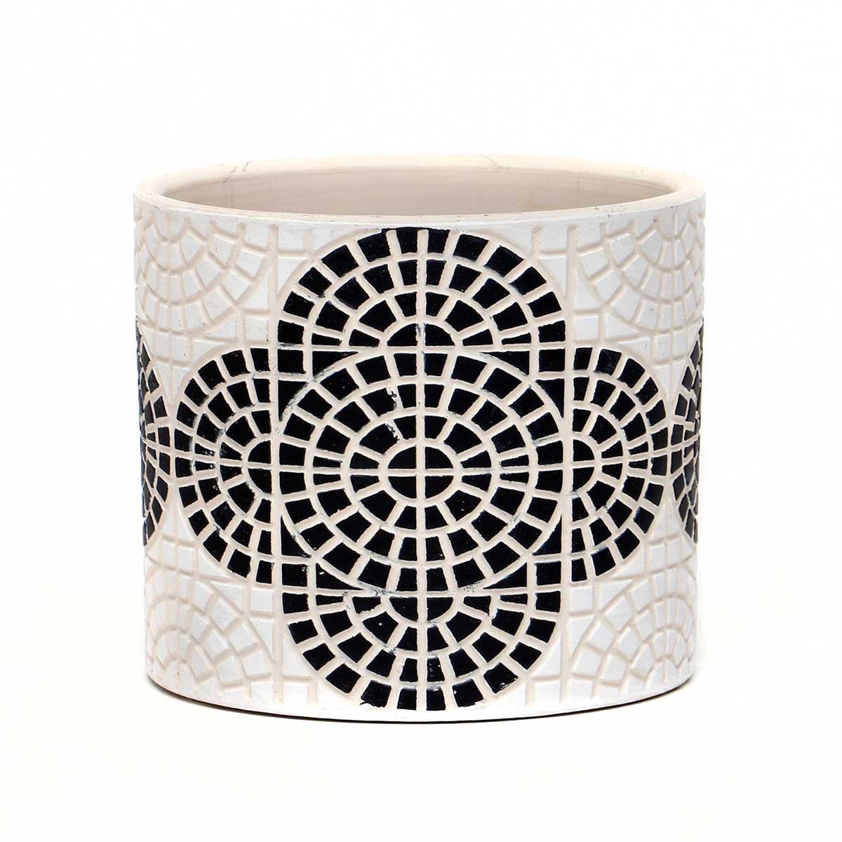 WHITE CONCRETE BLACK MOSAIC PATTERN POT