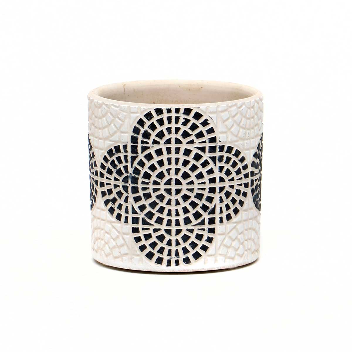 WHITE CONCRETE BLACK MOSAIC PATTERN POT SMALL