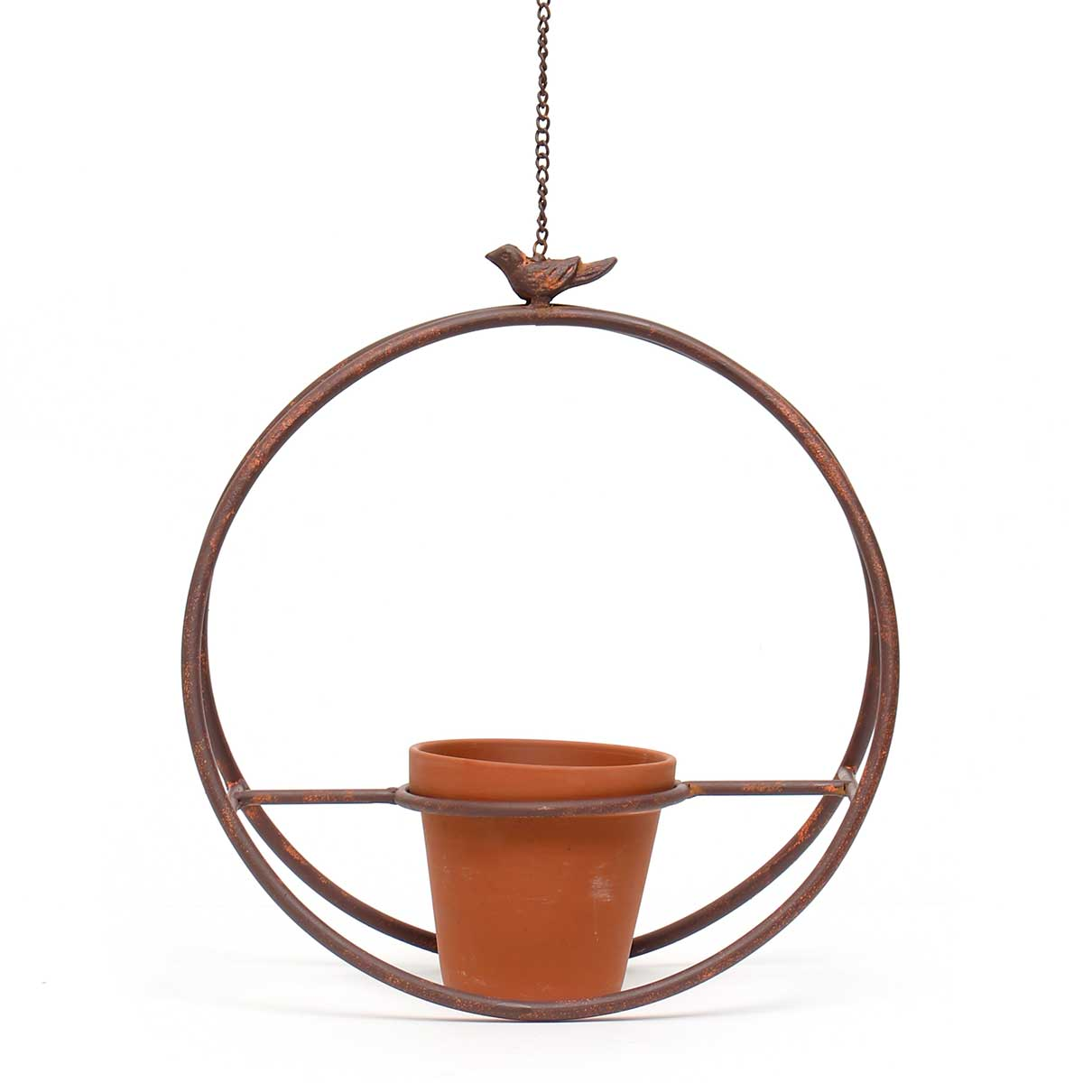 "METAL GARDEN HANGING CIRCLE WITH 20"" CHAIN/HOOK AND CLAY POT"