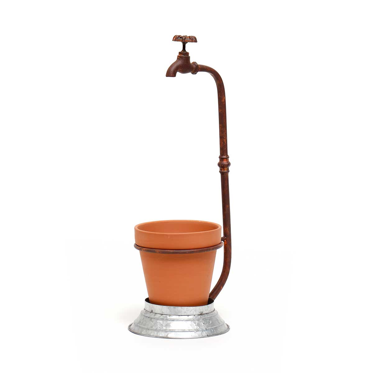 METAL GARDEN FAUCET PLANTER AND CLAY POT WITH DRAINAGE HOLE