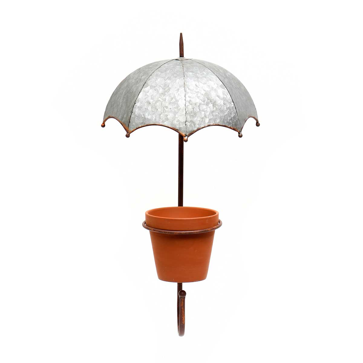 METAL GARDEN UMBRELLA WALL PLANTER AND CLAY POT WITH