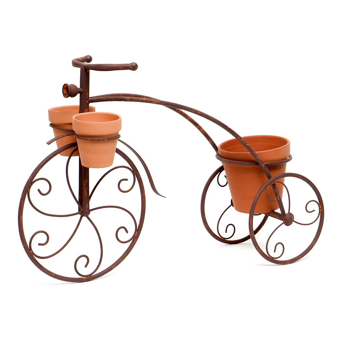 METAL GARDEN TRICYCLE WITH 3 CLAY POTS WITH DRAINAGE HOLES