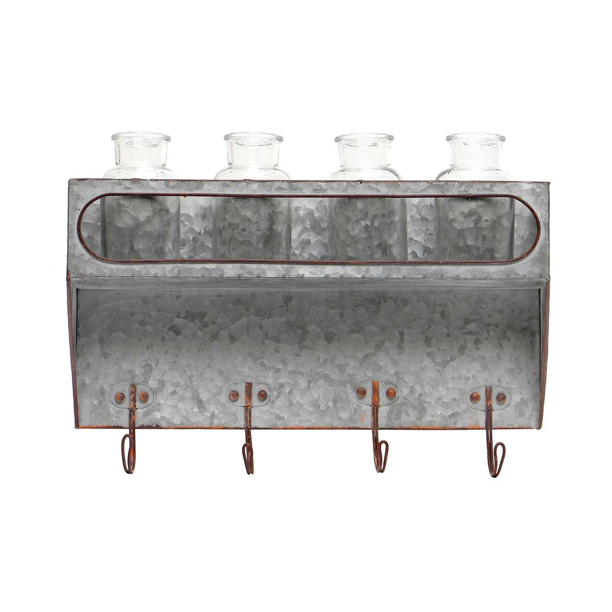 "METAL WALL PIECE WITH 4 GLASS BOTTLES AND HOOKS 15.5""x3.5""x11"""
