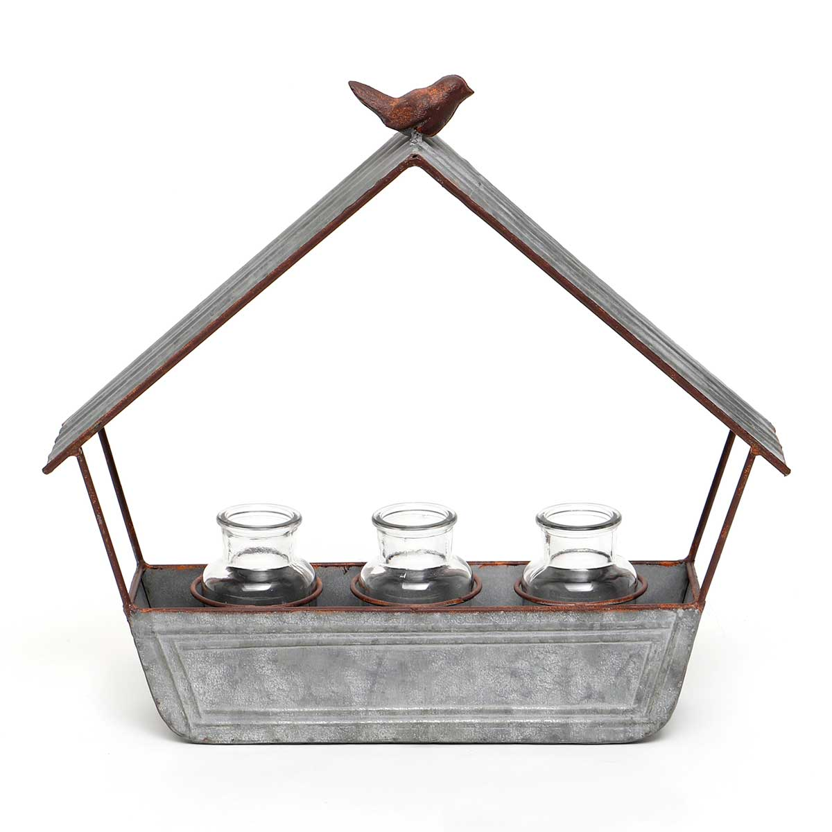 METAL HOUSE WALL HANGER WITH BIRD AND 3 GLASS BOTTLES