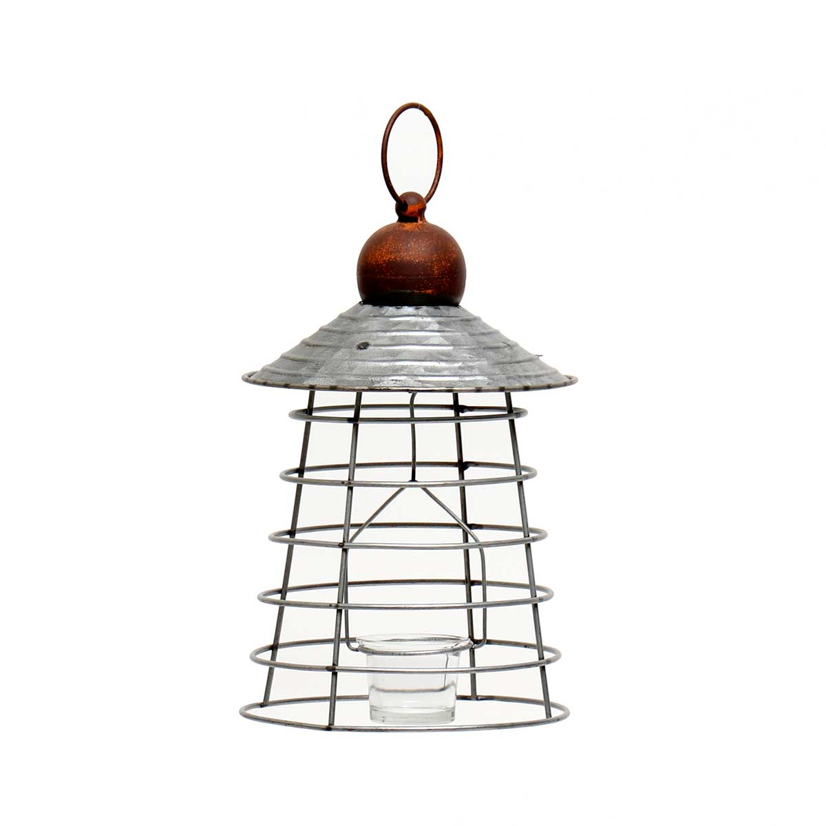 "METAL HANGING LANTERN WITH GLASS VOTIVE HOLDER 7.25""x14"""