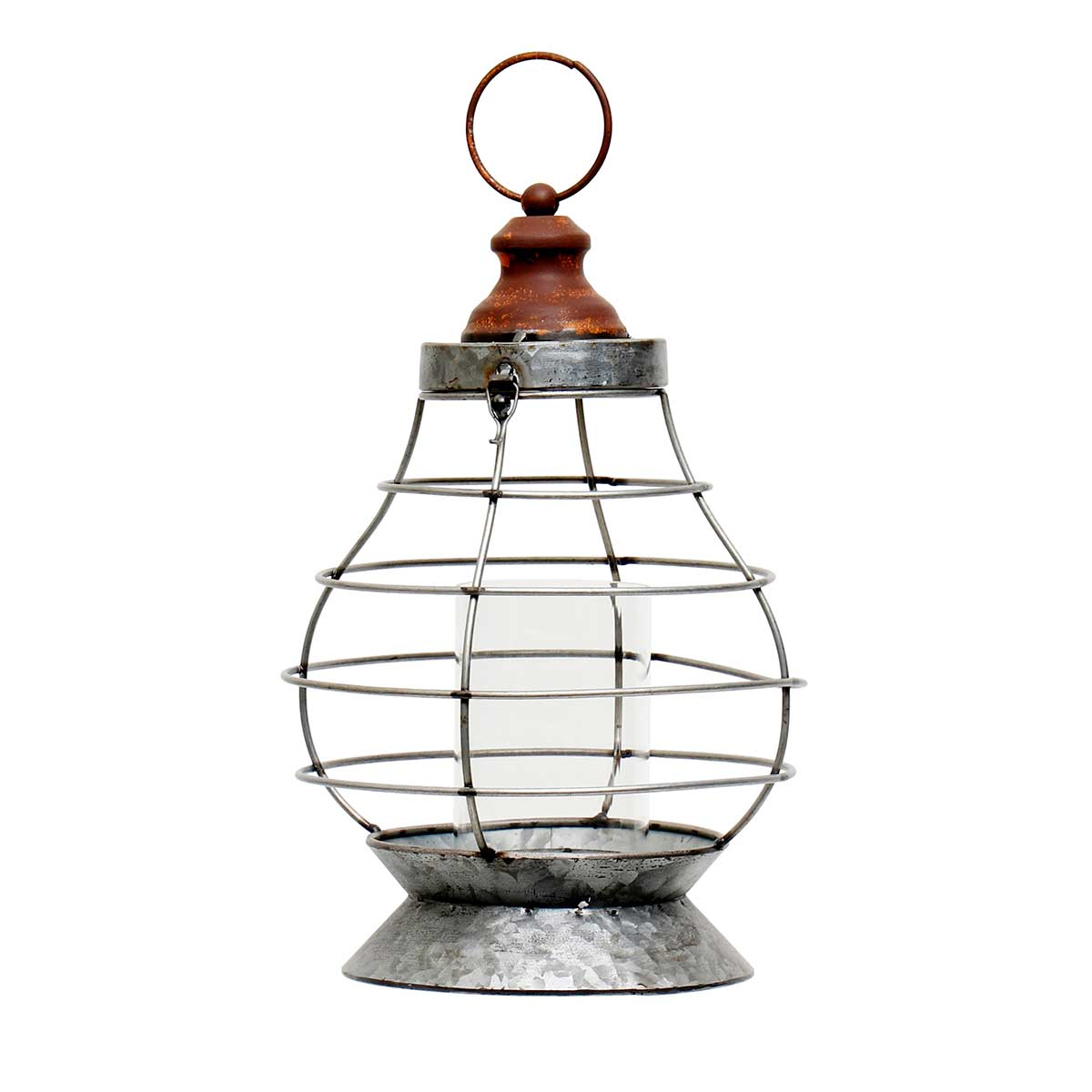 "METAL HANGING KEROSENE STYLE LANTERN WITH GLASS CHIMNEY 8""x14"""
