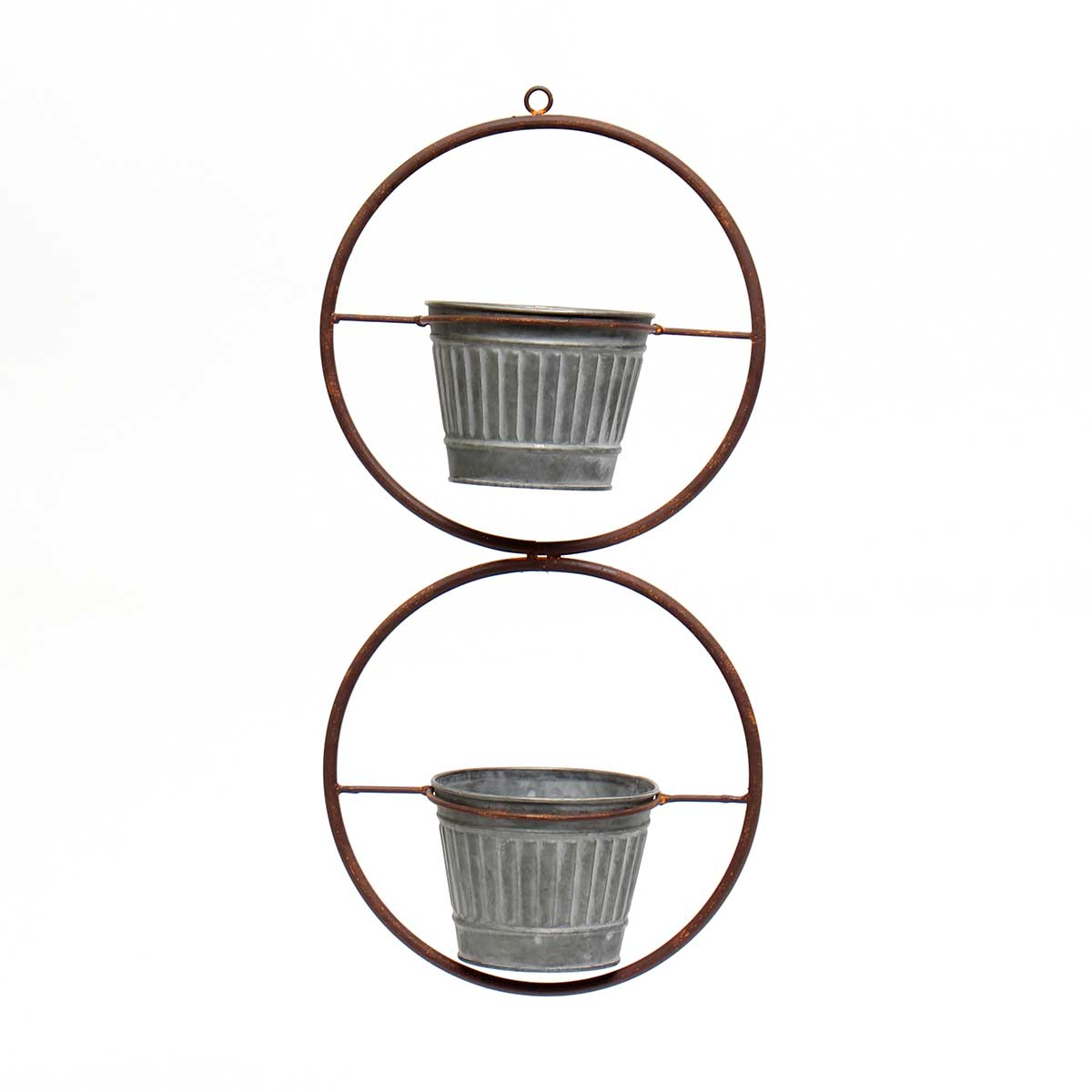 IN BLOOM METAL HANGING DOUBLE CIRCLES WITH 2 BUCKETS