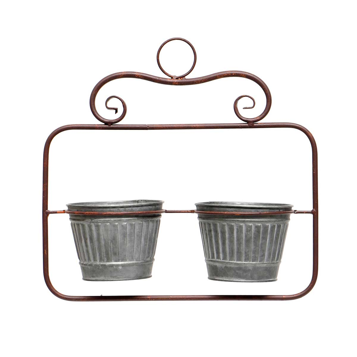 IN BLOOM METAL HANGING RECTANGLE PLANTER WITH 2 METAL