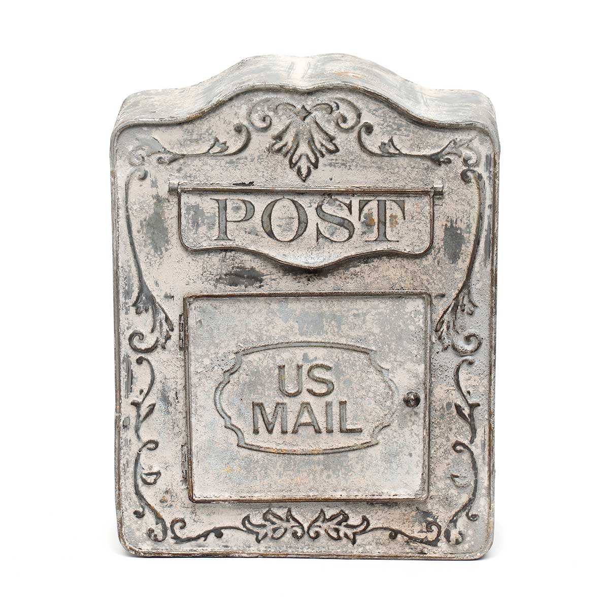 "PEWTER METAL US MAIL DECORATIVE POST BOX 10.25""x3.5""x13.5"""
