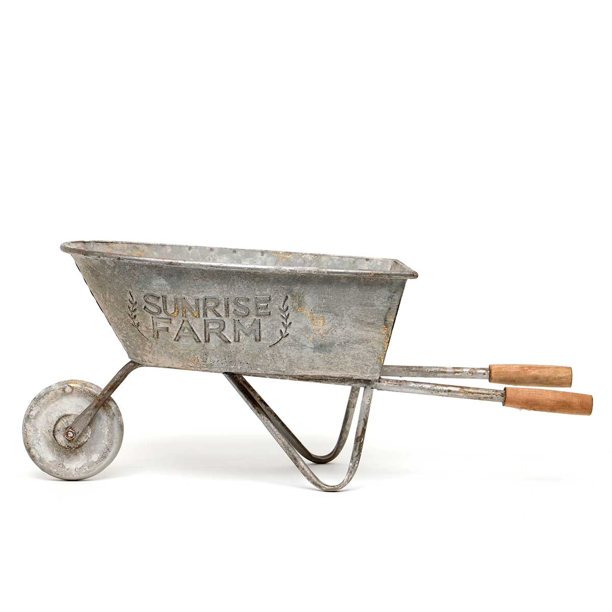 PEWTER METAL DECORATIVE WHEELBARROW WITH WOOD HANDLES