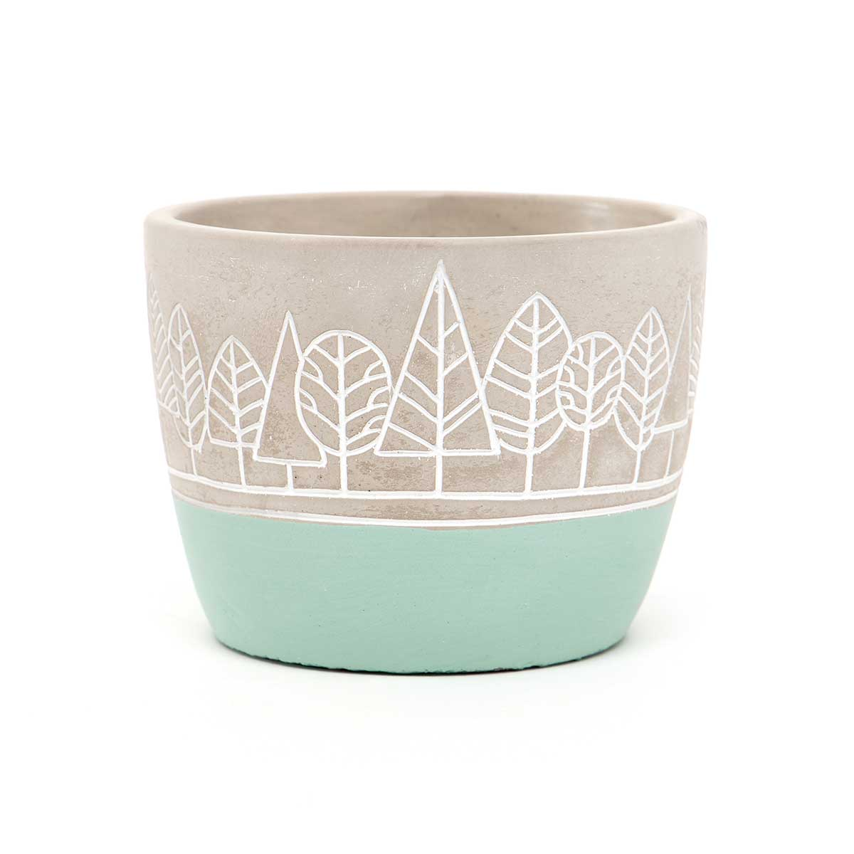 "TREE DESIGN CONCRETE POT WITH TEAL BOTTOM SMALL 5""x4.75"""