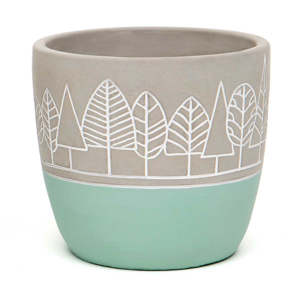 "TREE DESIGN CONCRETE POT WITH TEAL BOTTOM LARGE 5.5""x5"""