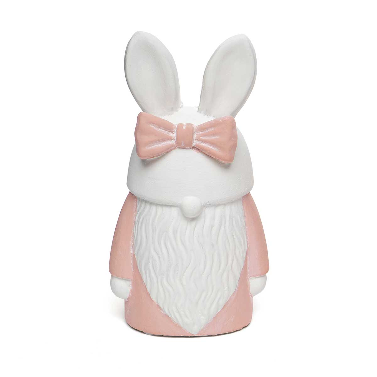 "BUNNY CONCRETE GNOME PINK WITH BOW SMALL 3.5""x4.75""x2.25"""