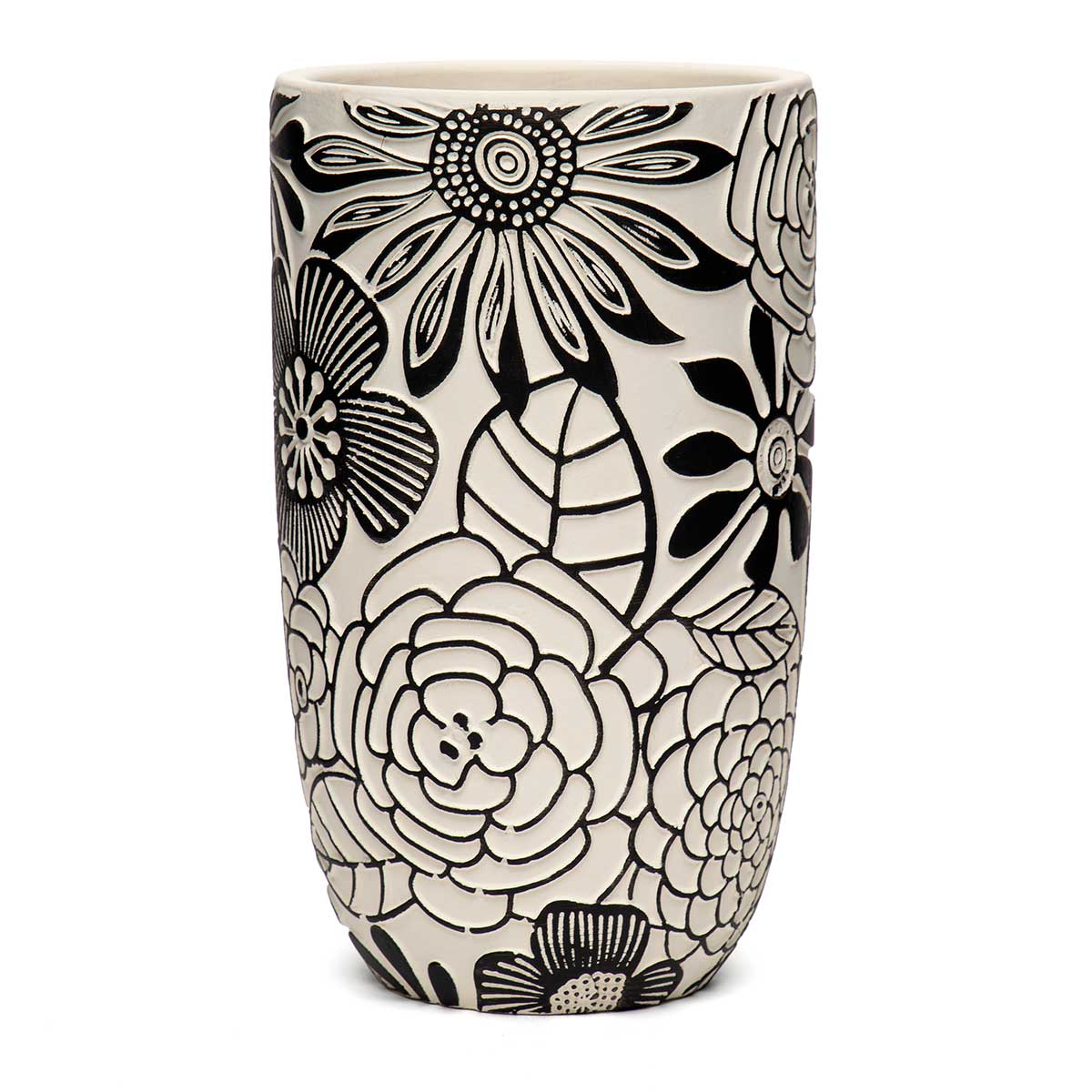 "FLORAL MOTIF TERRA COTTA POT BLACK/WHITE TALL 4.75""x8.25"""
