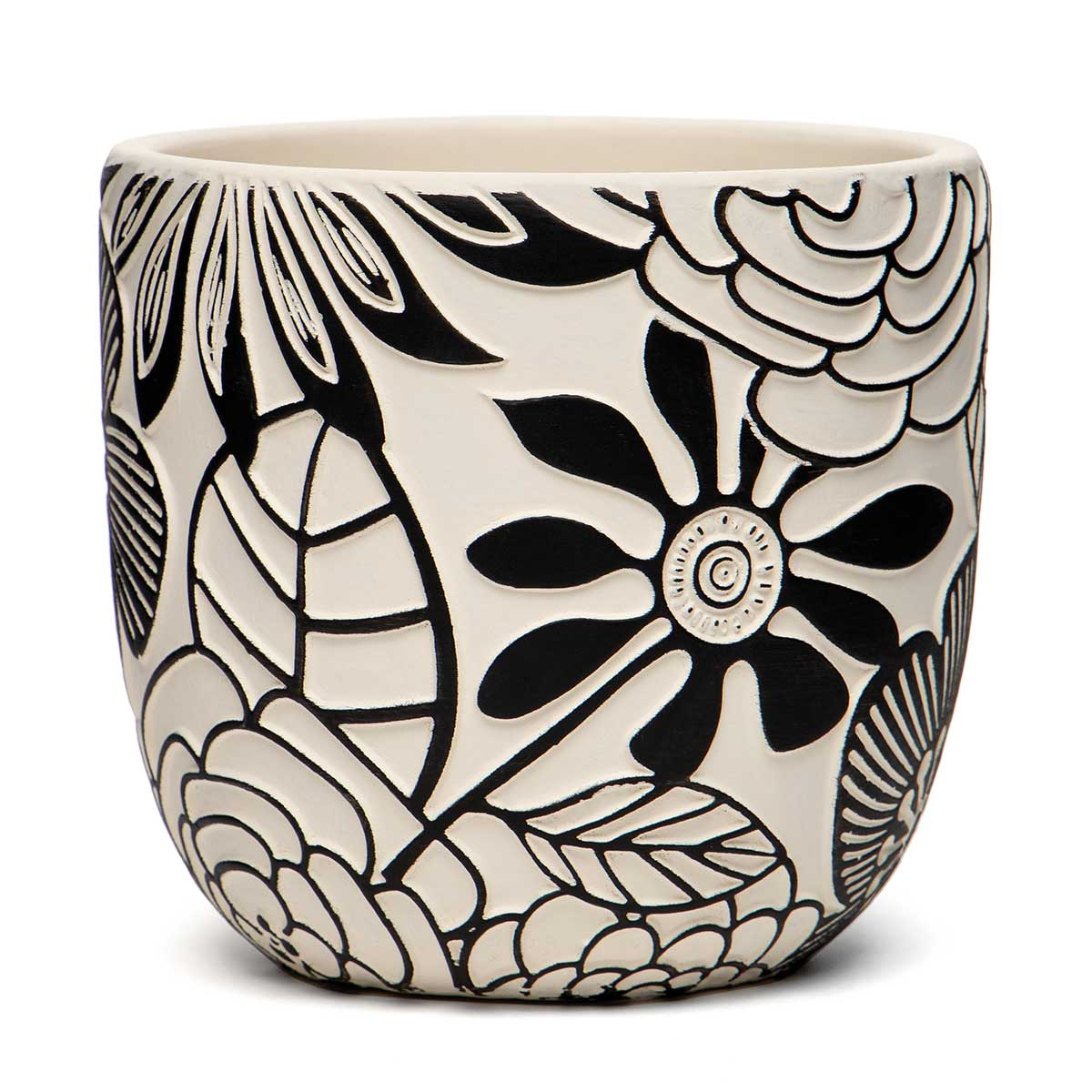 "FLORAL MOTIF TERRA COTTA POT BLACK/WHITE LARGE 5.25""x5"""