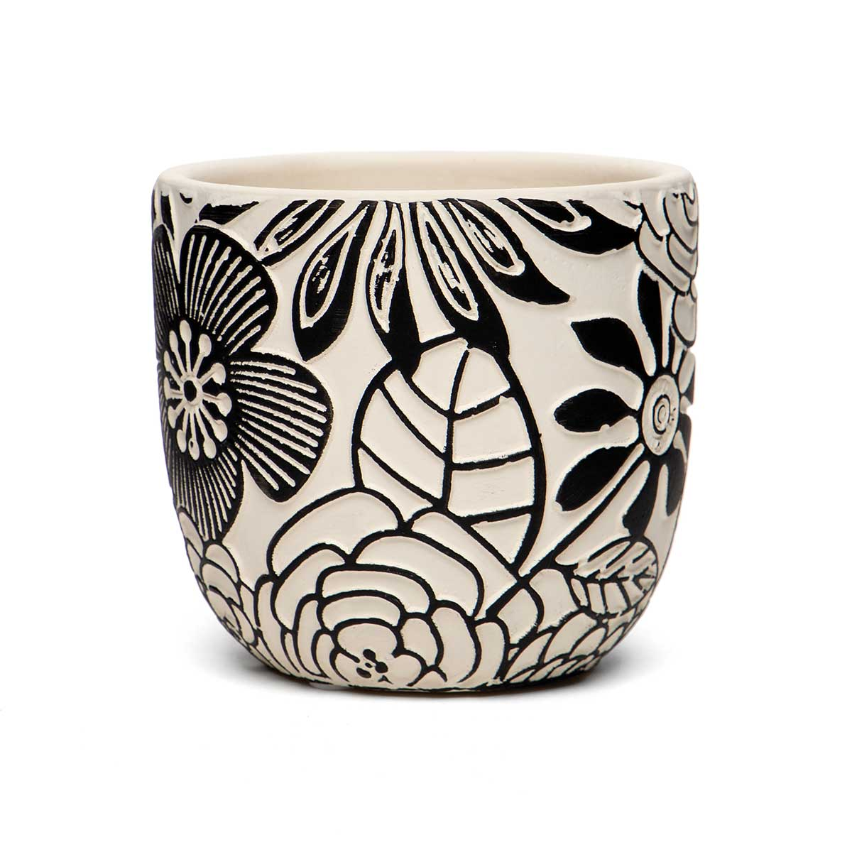 "FLORAL MOTIF TERRA COTTA POT BLACK/WHITE SMALL 4.25""x3.75"""