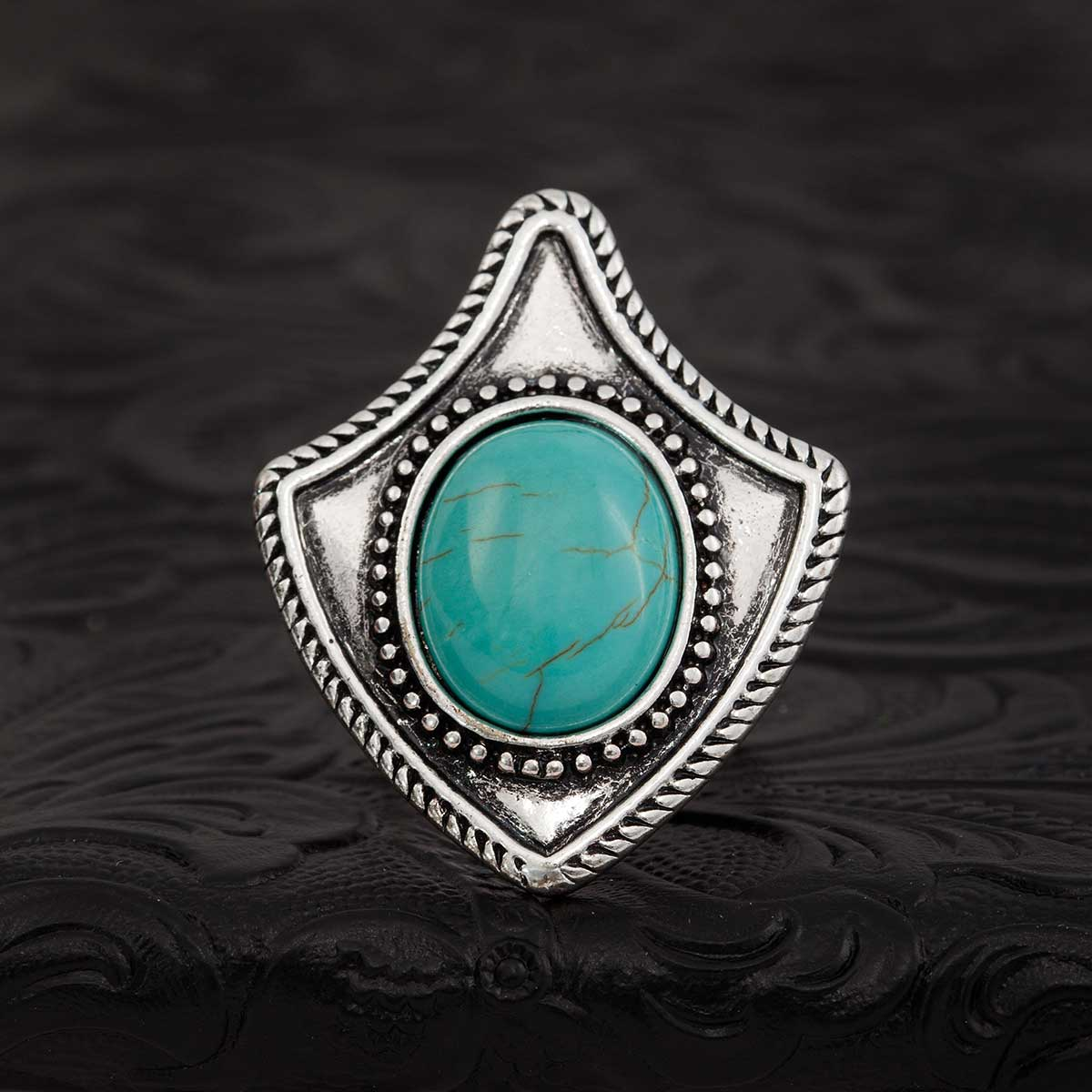 "Blue Navajo 2.25"" Arrowhead Adjustable Ring 70sp"