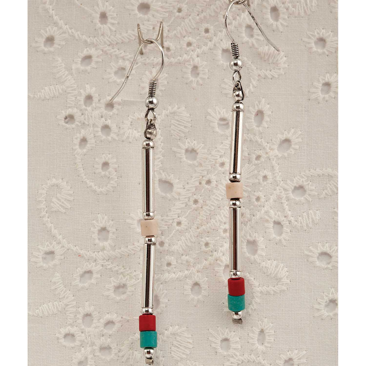 RED WHITE AND BLUE SILVERTONE FRENCH HOOK EARRINGS