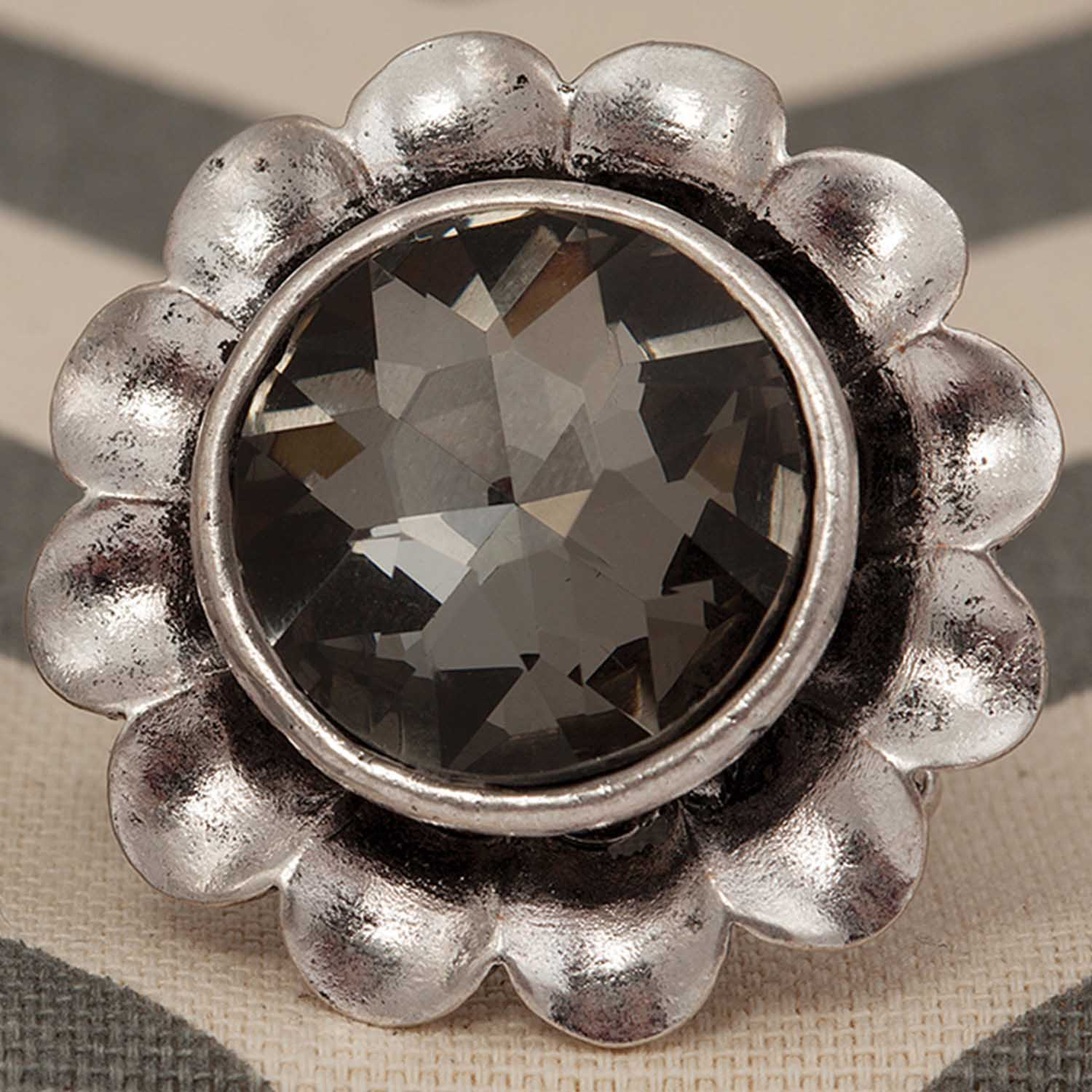 Flower Smoke Crystal Stretch Ring 70sp