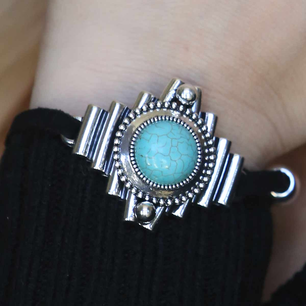"SILVER AND TURQUOISE 1.5"" BRACELET 7""-8.5"" ON BLACK CORD 70sp"