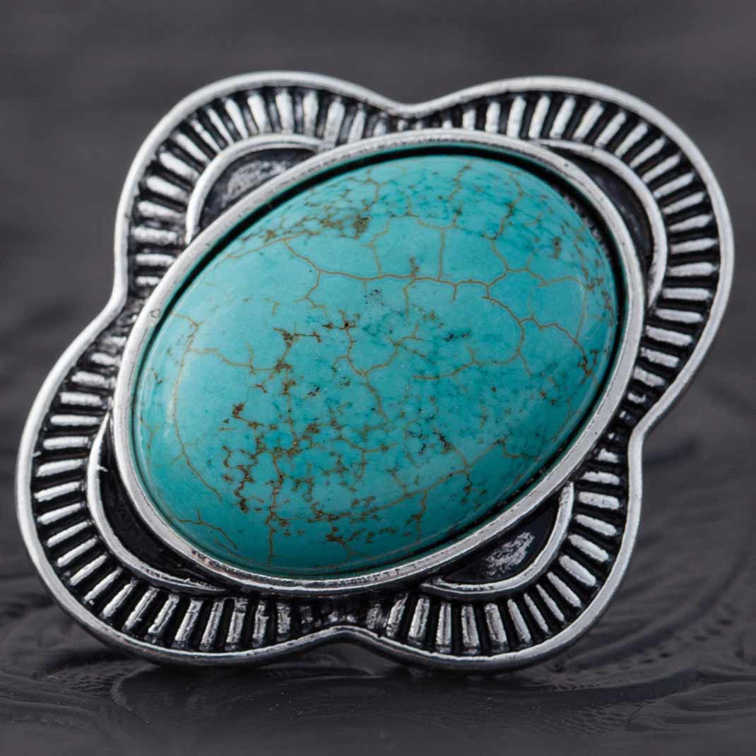 "SILVER AND 1.25""X1 1/8"" OVAL TURQUOISE ADJUSTABLE RING 70sp"