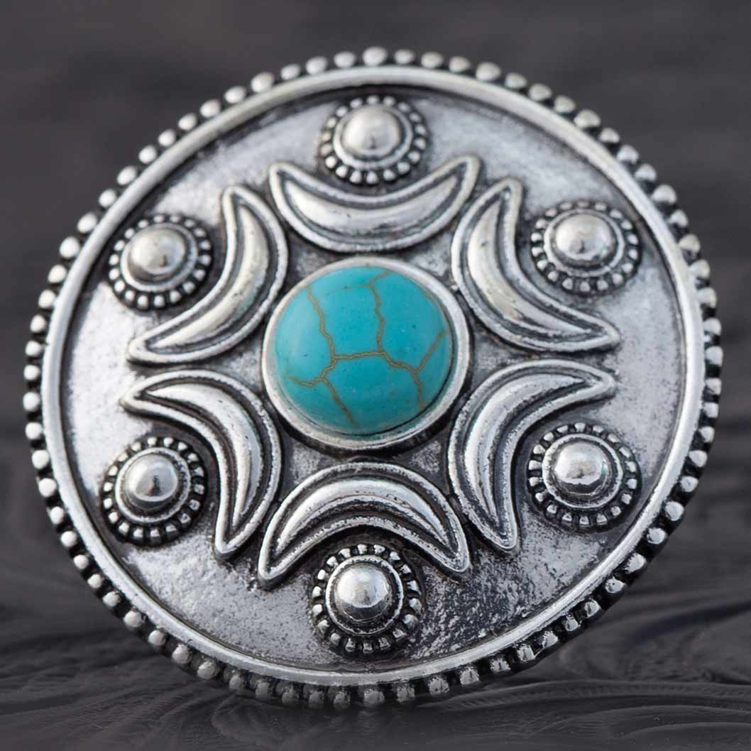 "SILVER AND .25"" TURQUOISE ROUND ADJUSTABLE RING 70sp"
