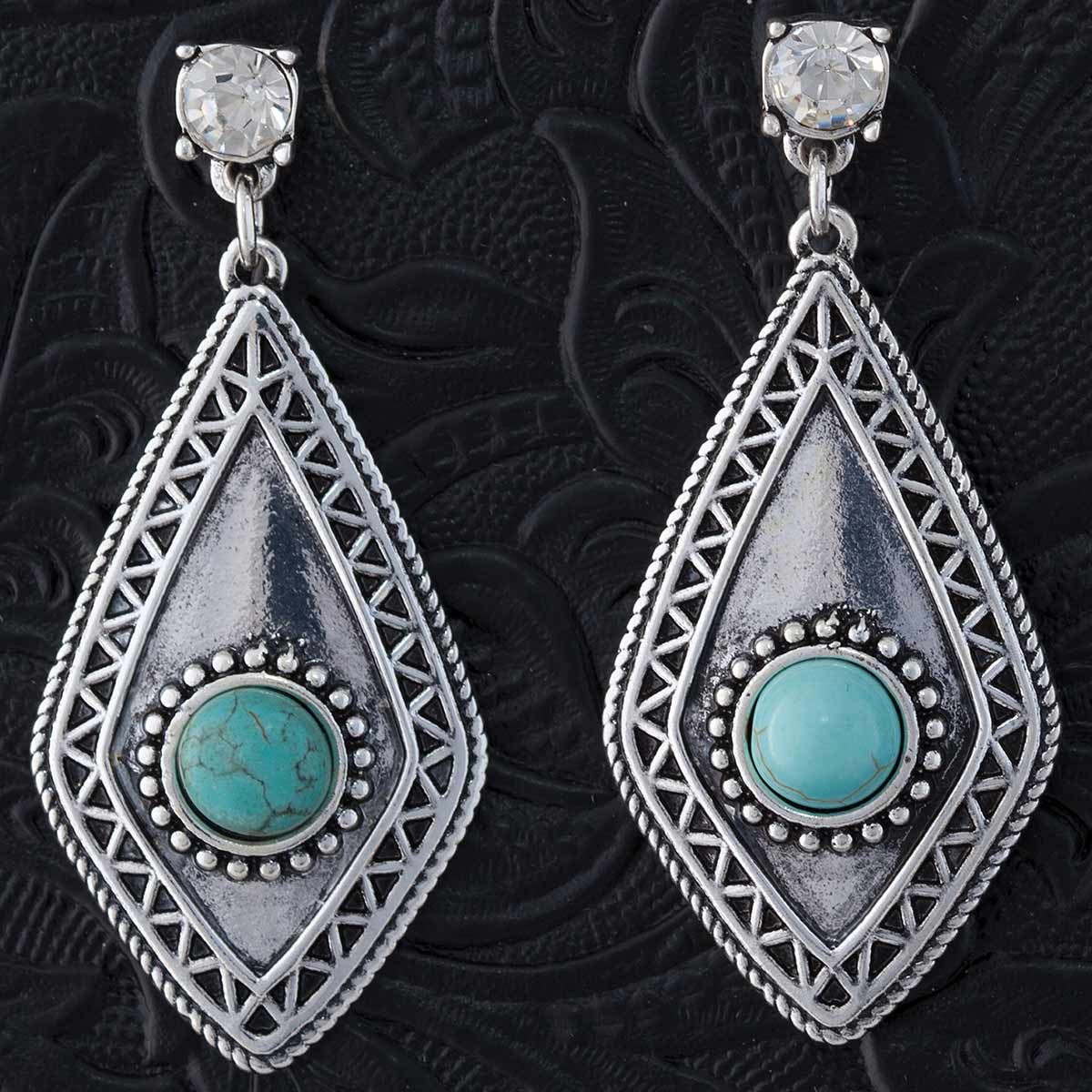 "SILVER AND TURQUOISE 1.9"" POST EARRINGS 70sp"