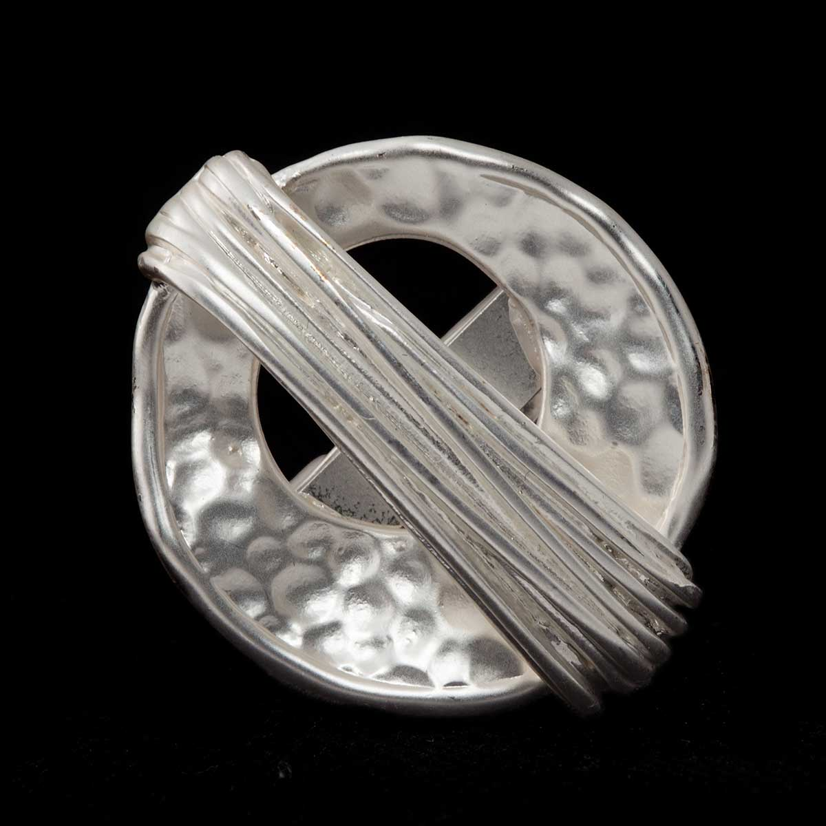 "Hammered Satin Silver1""x1"" Disc and Wire Adjustable Ring 50sp"