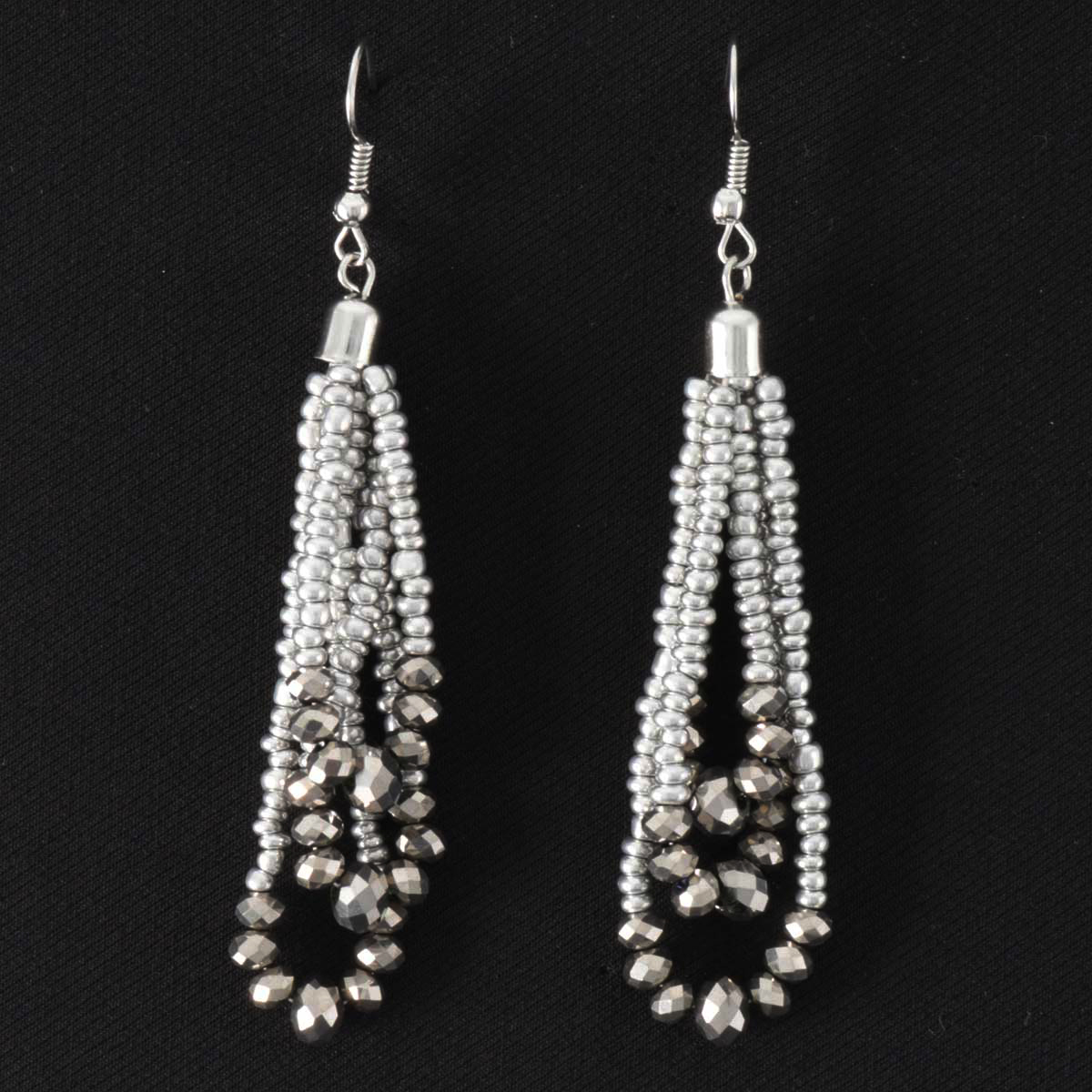 SILVER BEAD/CRYSTAL EARRING
