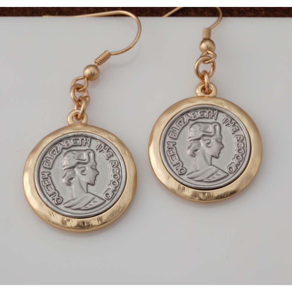GOLD SILVER COIN EARRING