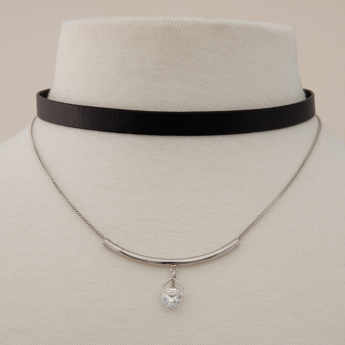 Diamond Shape and Crystal Accent Double Choker 50sp
