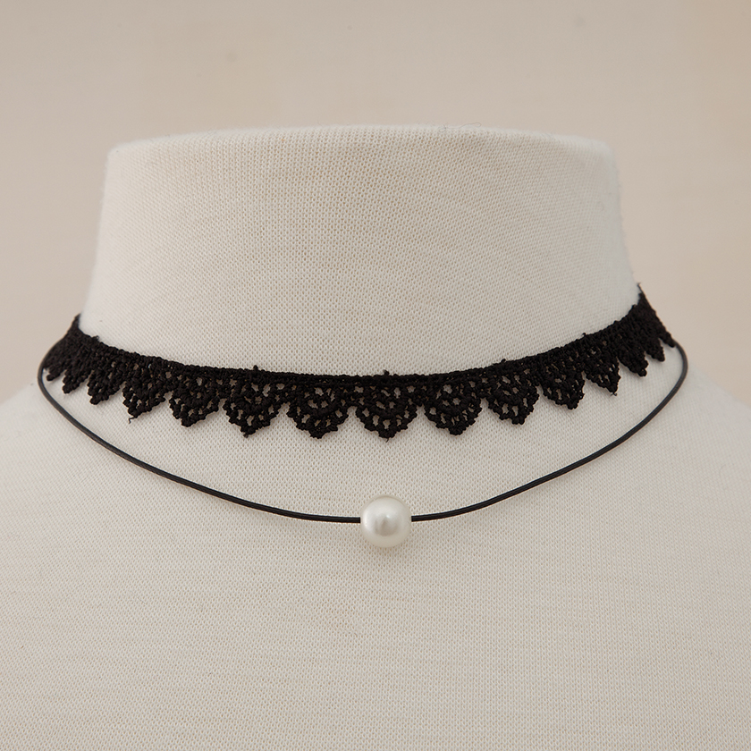 Pearl on Black Strand with Black Lace Double Choker 50sp
