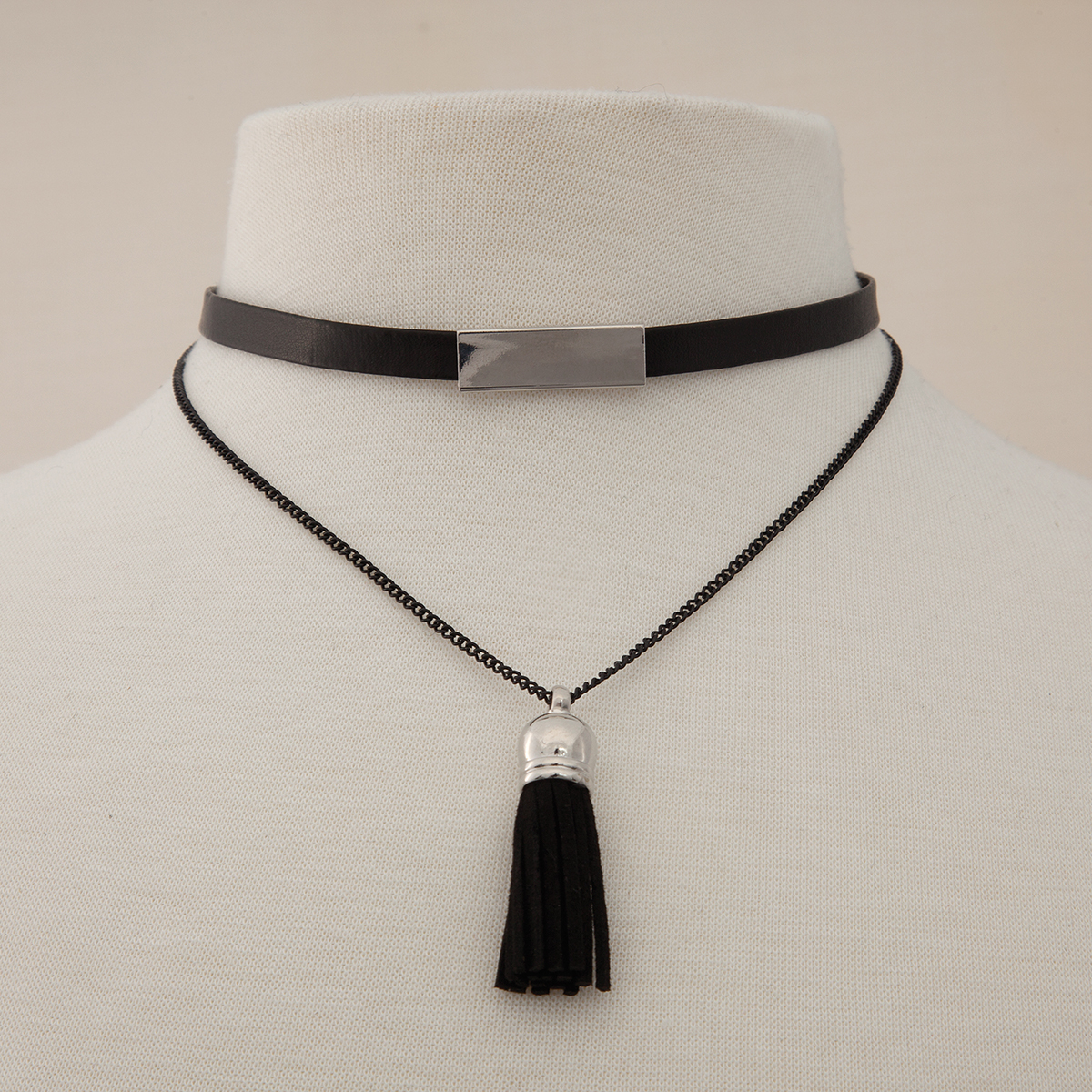 Silver Bar Double Black Cord Double Choker 50sp