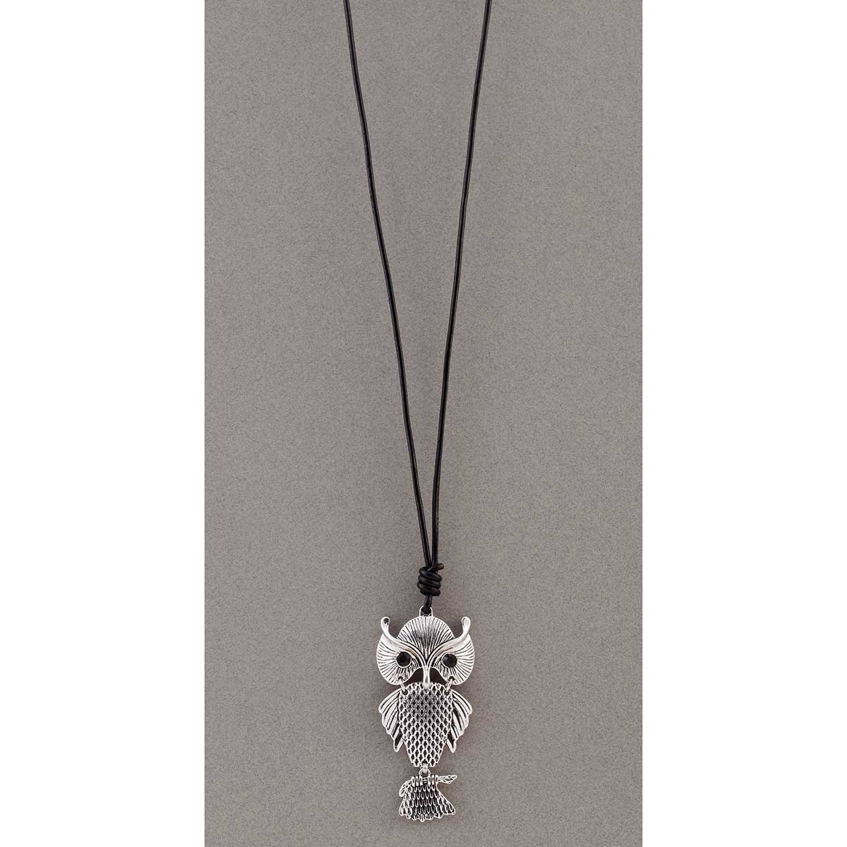 Owl on Black Cord Necklace 50sp