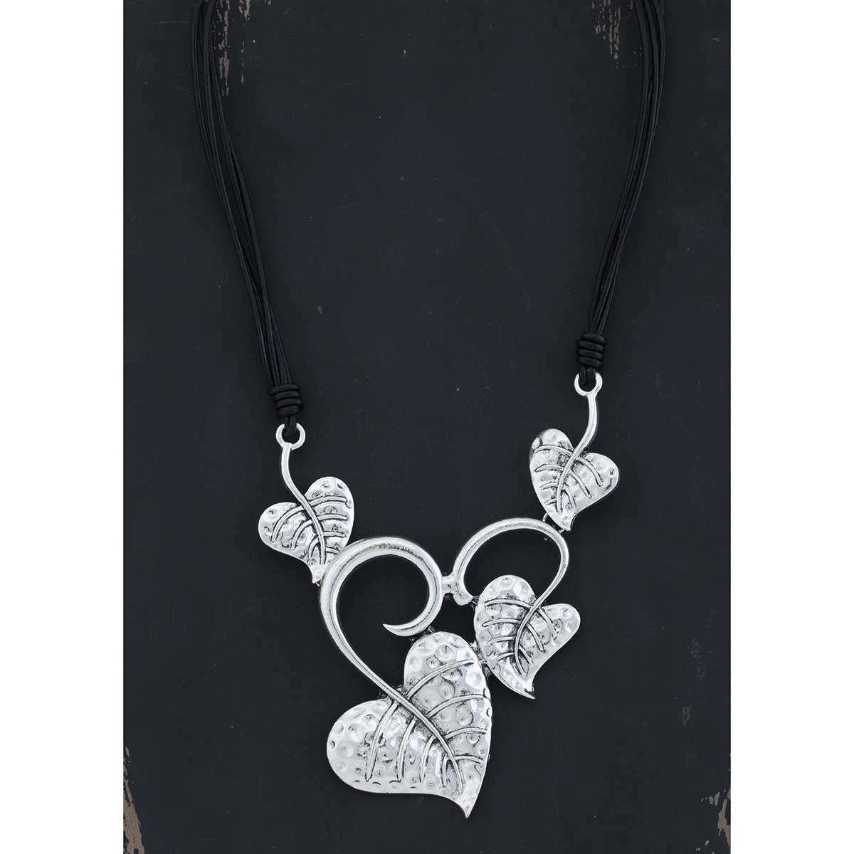 4 Heart Leaf on Black Cord Necklace 50sp