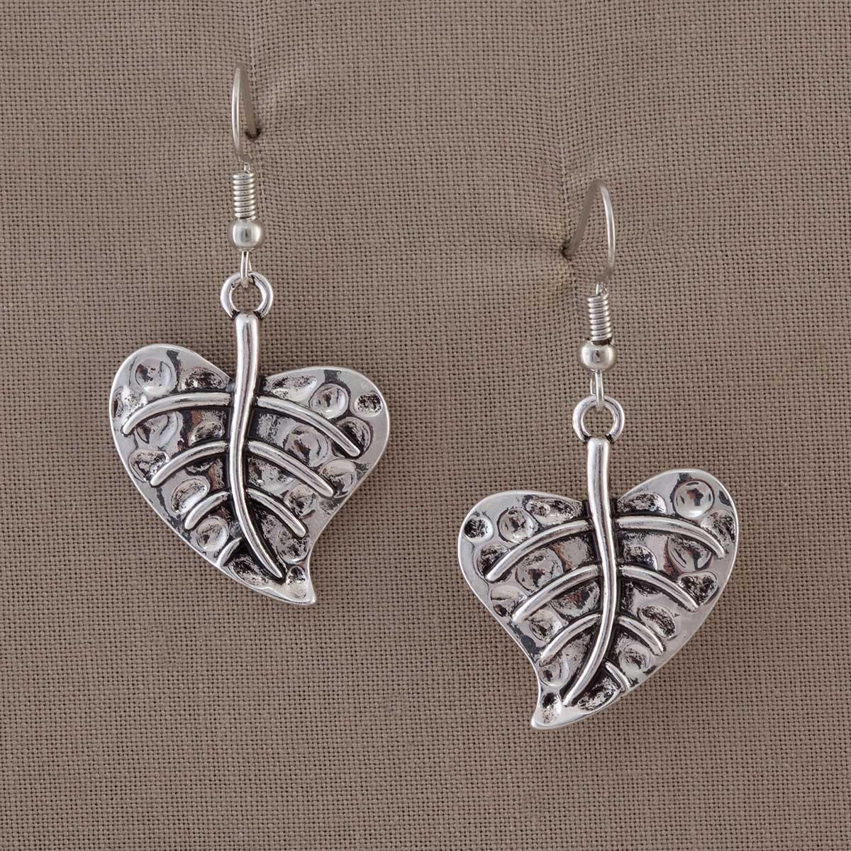 "Heart Leaf French Wire Earrings 1.125""x.875"" 50sp"
